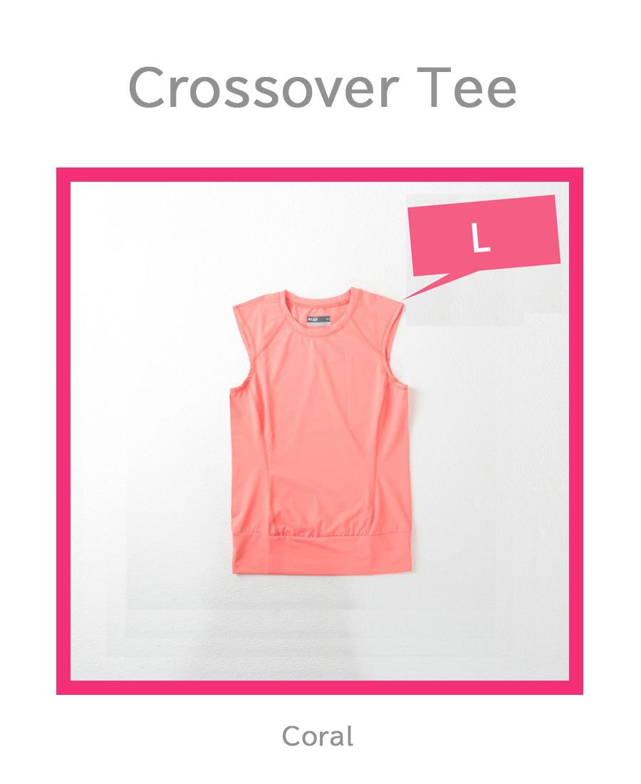 テニスウェア半袖CrossoverTee色CoralブランドLIJA平置き写真